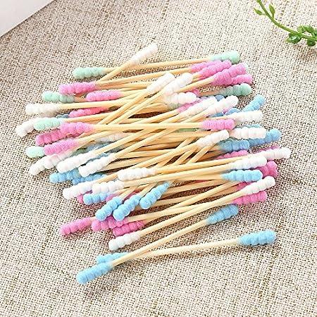 poign/ée en bambou Candy Couleur souple Tampon avec filetage transparente al/éatoire Forme Bo/îte pour oreille de nettoyage 200/pcs//lot double t/ête de b/âton de tampons de coton