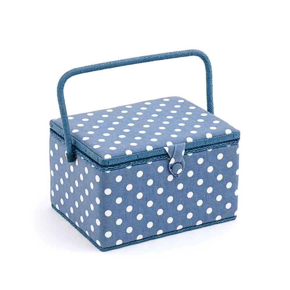 Hobby Gift 'denim pois' grande scatola da cucito rettangolare 23.5x 31x 20cm (D/W/h)