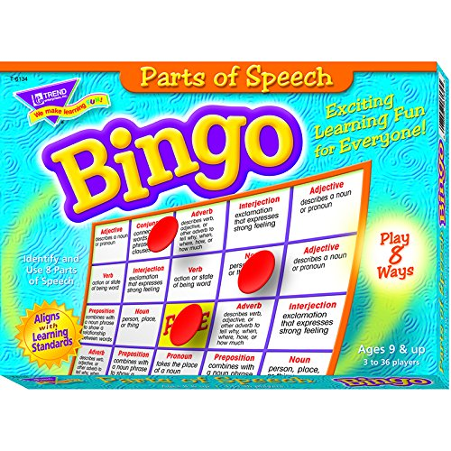 parts of speech BINGO game for kids