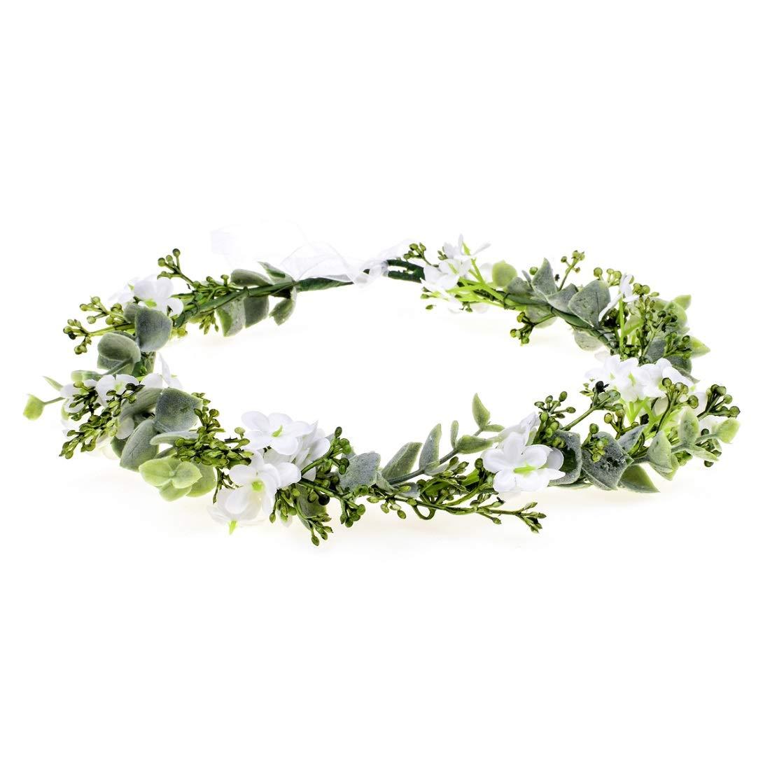 Vividsun Bridal Green Leaf Crown Bohemian Headpiece Floral Headband Photo Prop (white flower) by Vividsun
