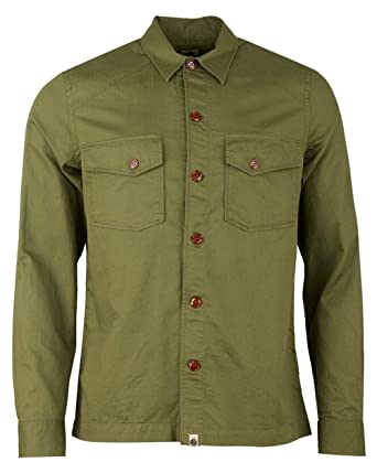 ba71285733769c Pretty Green Mens Green Military Overshirt: Amazon.co.uk: Clothing