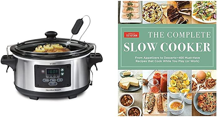 The Complete Slow Cooker: From Appetizers to Desserts & Hamilton Beach Set 'n Forget Programmable Slow Cooker With Temperature Probe, 6-Quart