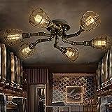 6 Lights Industrial Cage Pipe Pendant Light-LITFAD Retro Rustic Iron Brass Metal Vintage Hanging Pendant Lamp Edison Ceiling Chandelier Semi-Flush Fixtures