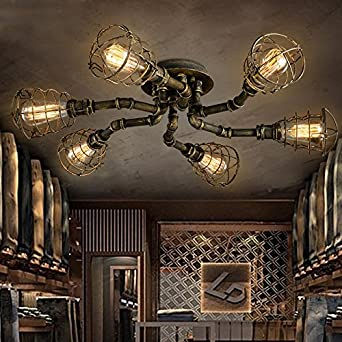 6 lights industrial cage pipe pendant light litfad retro for Black pipe light fixture