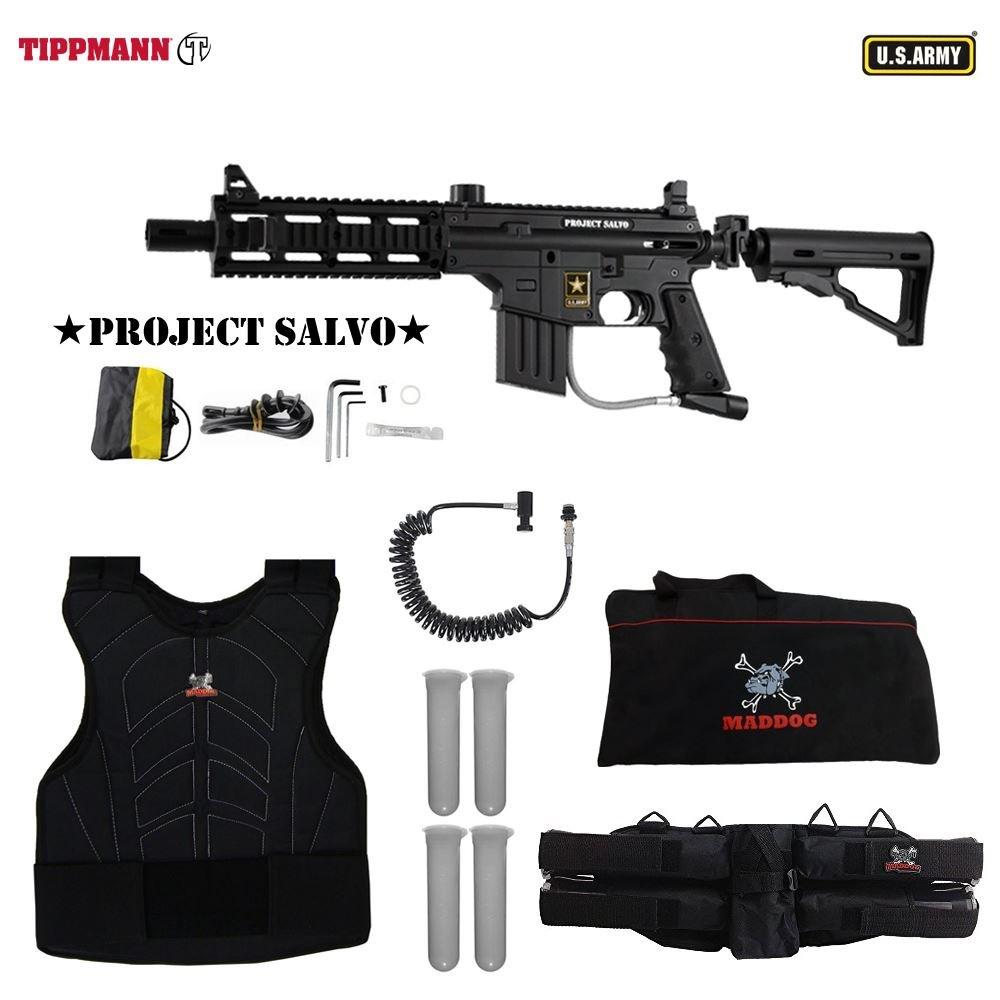 Tippmann Us Army Project Salvo W E Grip Sergeant 98 Flatline Barrel Manual Paintball Gun Package Black Sports Outdoors