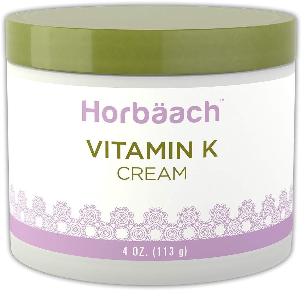 Horbaach Vitamin K Cream 4 oz   Premium Formula for Bruises, Spider Veins, Dark Circles