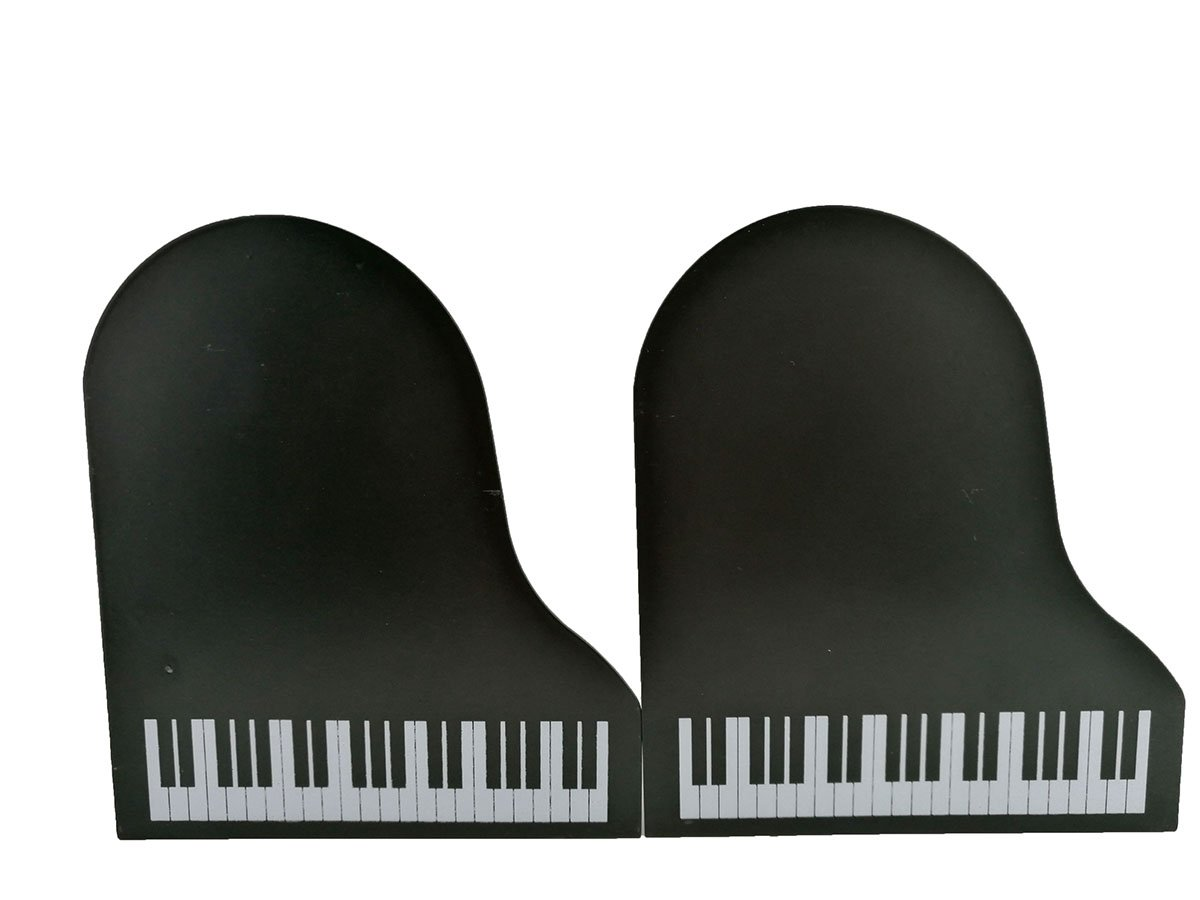 Music Theme Piano Shape Nonskid Metal Office Desk Bookends(Black)