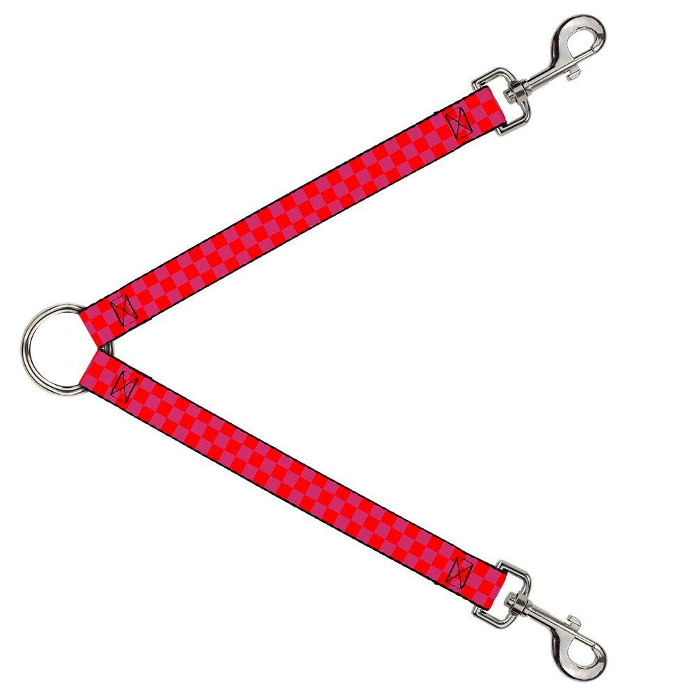 Buckle-Down DLS-W35550 Checker Fluoresecent orange Pink Leash Splitter, 1  Wide 30  Length