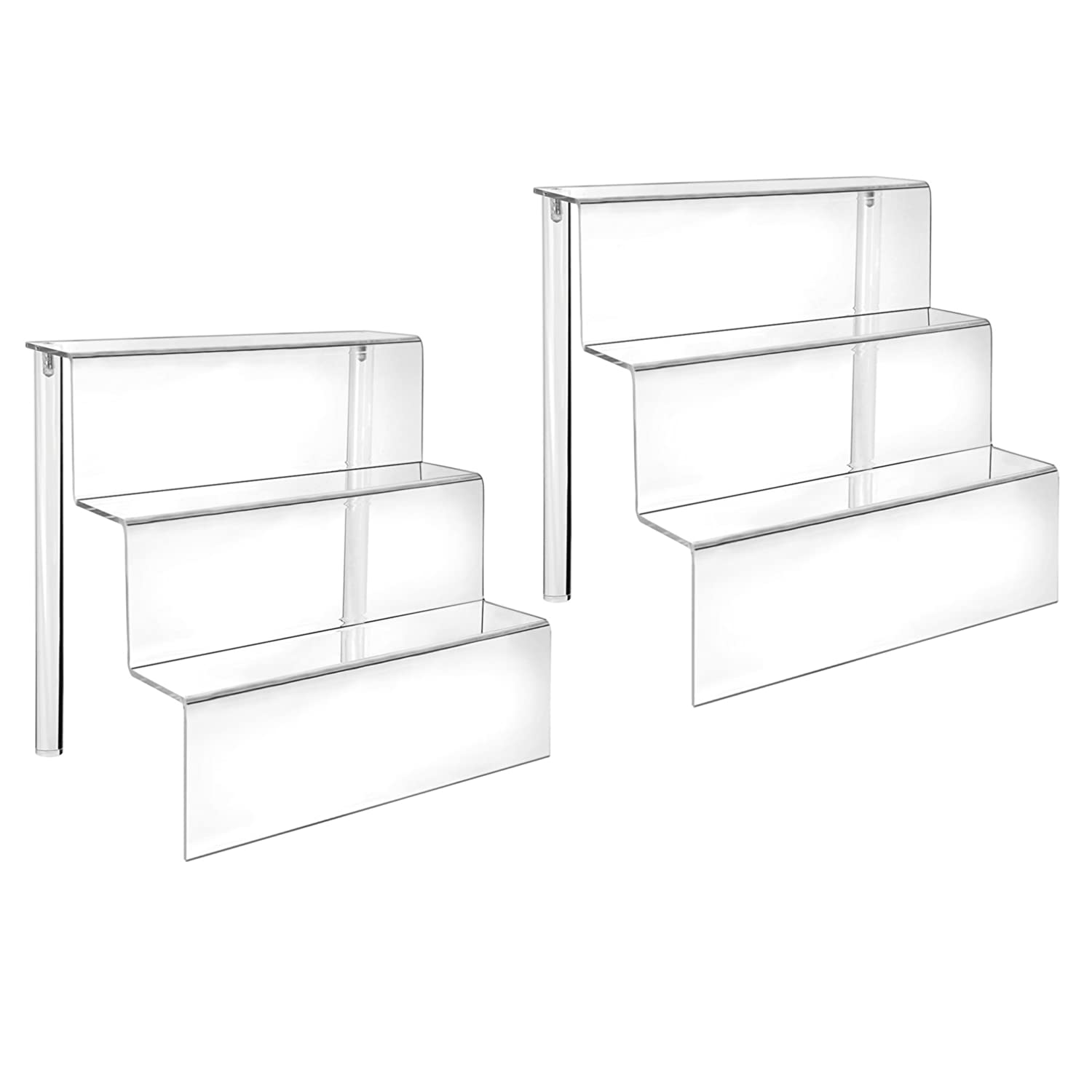 HESIN Acrylic Risers 9-inch W by 6.25-inch D Three-Tier Acrylic Step Display for Decoration and Organizer 1 Pack