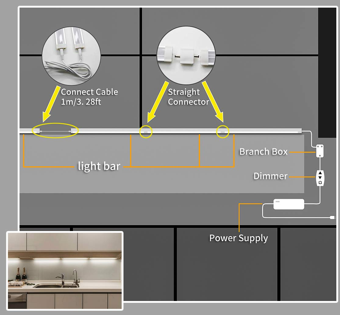 MYPLUS LED Under Cabinet Lighting, 3 pcs 12 inches Extremely Soft Kitchen Lights 10W, 630lm With 10 Levels Dimmable LED Under Counter Lights, for Kitchen Cabinet,Counter,Workbench etc - 3000K by MYPLUS (Image #6)