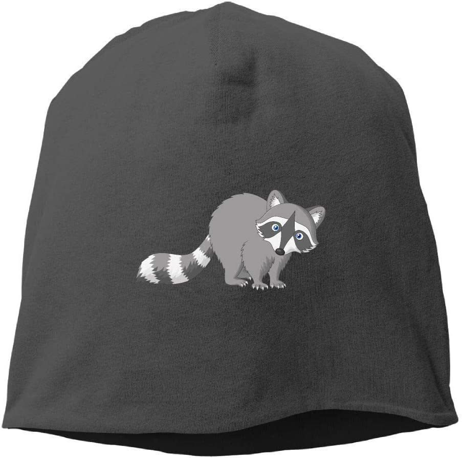 SDLZIJFGHBC Fashion new warm Unisex Mens Womens Little Gray Raccoon Hats Beanie Cuff Skating Toboggan Wool Warm Skull Caps