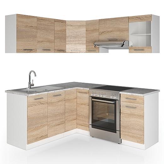 Vicco Winkelküche Küchenzeile 190 x 170 cm - Sonoma Eiche - Küche L ...