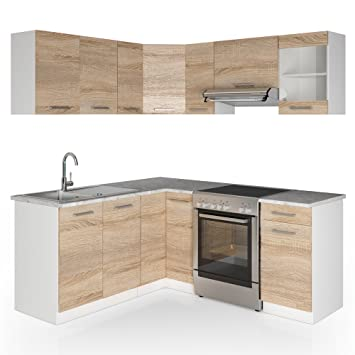 Vicco winkelküche küchenzeile 190 x 170 cm sonoma eiche küche l form küchenblock