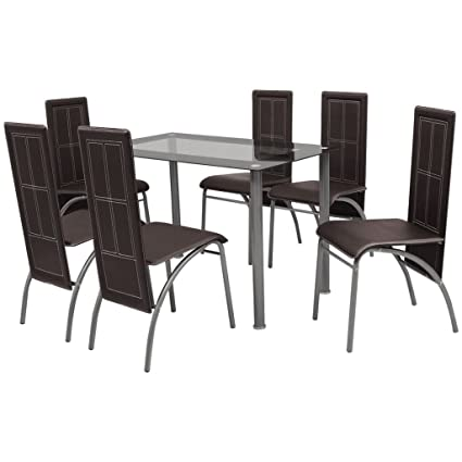 VidaXL Brown Metal 7 Pcs Dining Set Table 6 Chairs Kitchen Dining Room  Furniture