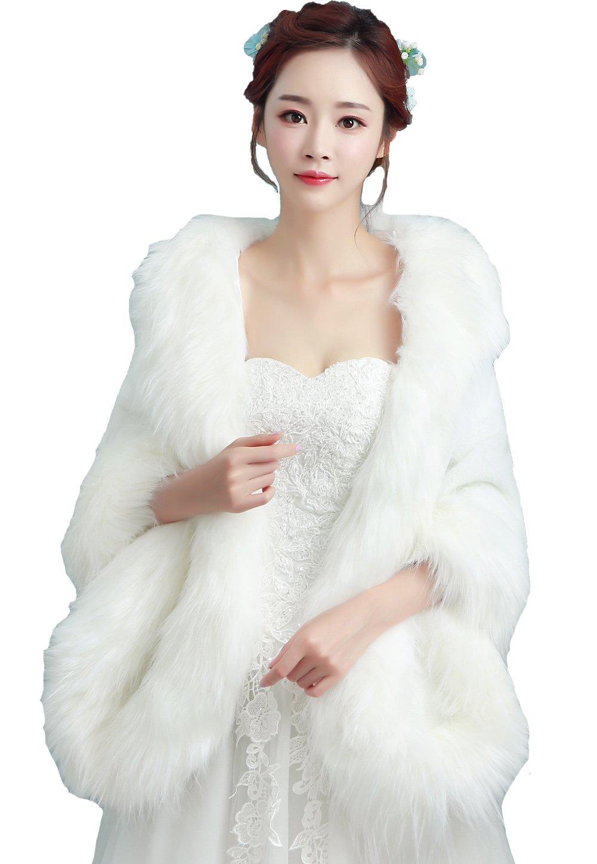 Monkidoll Women Faux Fur Coat Wedding Wraps Ivory (One Size, Ivory)
