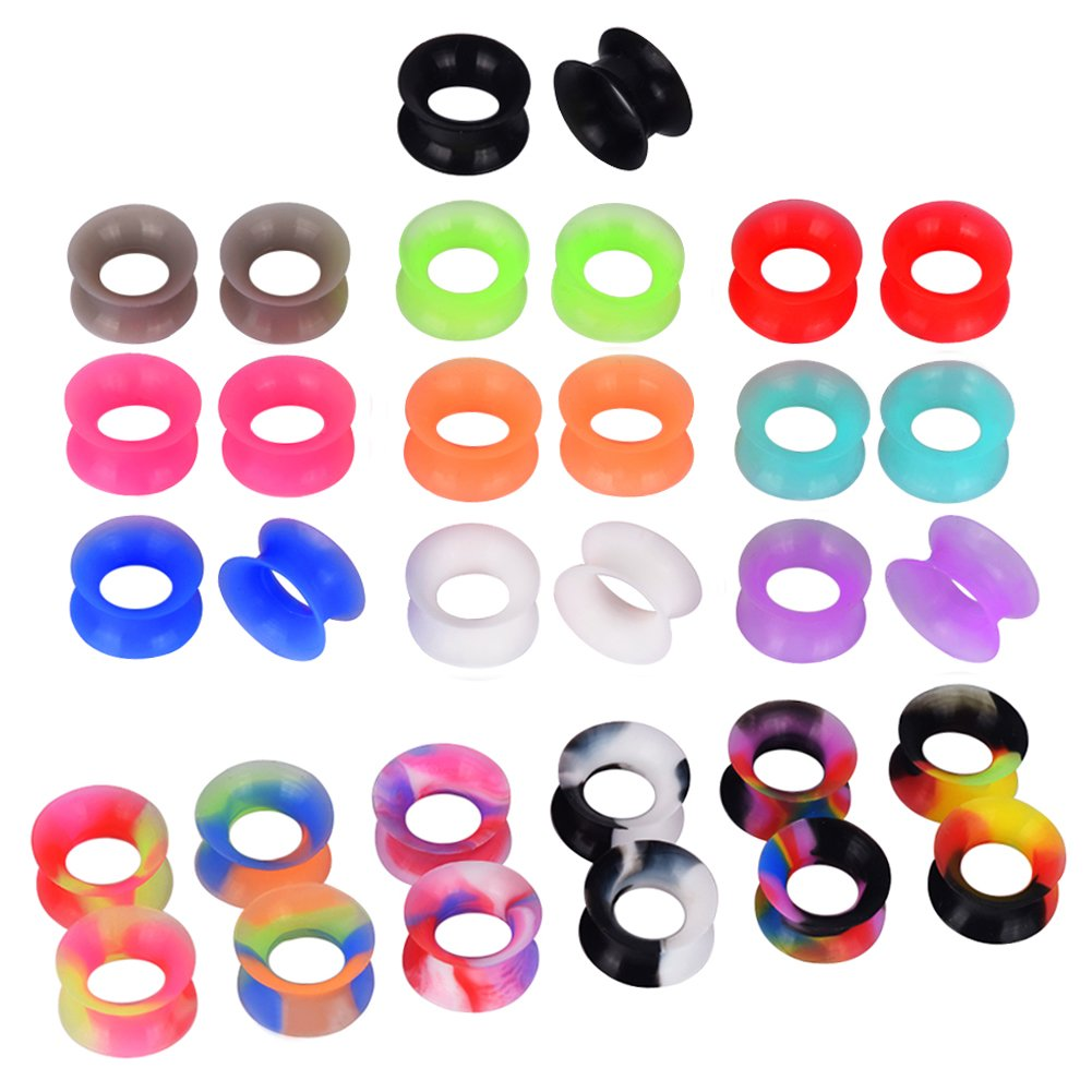 D&M Jewelry 16 Pairs Silicone Ear Gauge 0g Hollow Soft Ear Stretching Tunnels Piercing