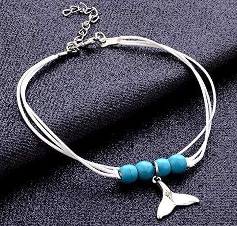 1pi/èce Blanc Cha/îne Blue Pearl Queue de sir/ène Perles Tissage Wind Beach Cheville
