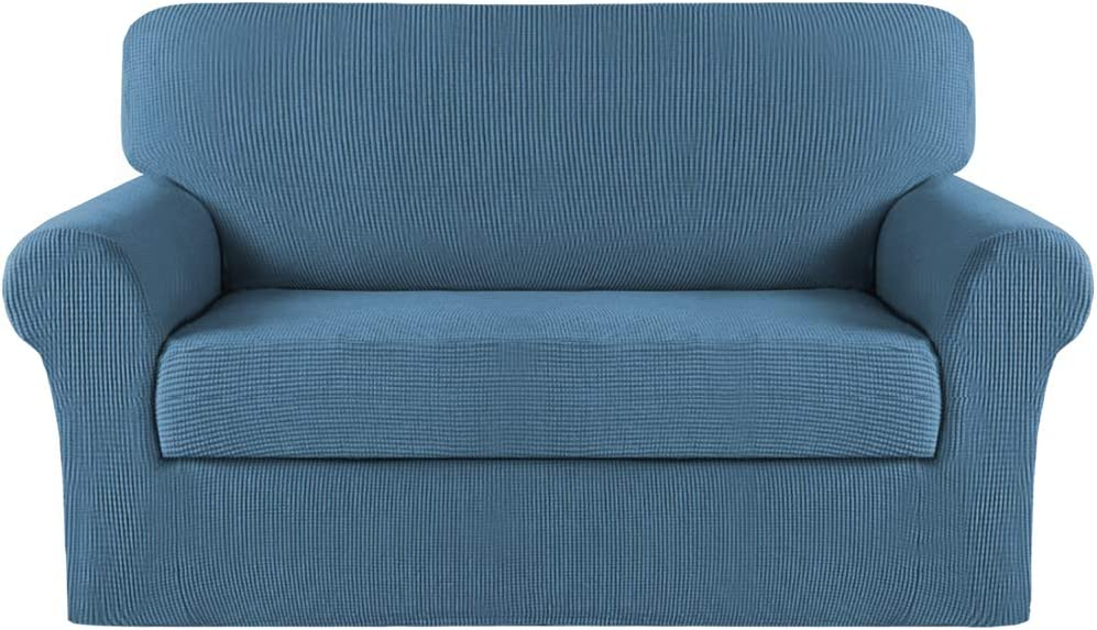 Turquoize Stretch Sofa Cover Sofa Slipcover Couch Cover for 2 Cushion Couch Pet Protector Furniture Covers (Base Cover Plus Seat Cushion Cover) Jacquard Fabric with Elastic Bottom (Medium,Dusty Blue)