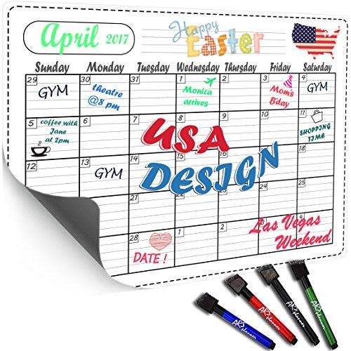 ARS planner Captivating Refrigerator Calendar Kit - Dry Erase Calendar Board 16x12 - Daily, Weekly, Monthly Planner for Kitchen Fridge - 4 unburden Markers Included BONUS E-book