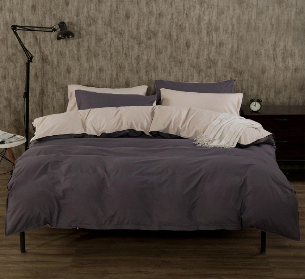 寝具カバーセット 4点セット シングル ダブル クイーンサイズ 綿100% サテン コットン 高級 ホテル (150x200cmシングル) B071NPGPPG 150x200cmシングル
