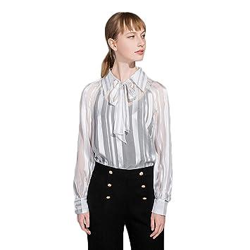 48618162a8 AIBAB Camicia da Donna in Seta Camicetta di Seta Camicia di Chiffon ...
