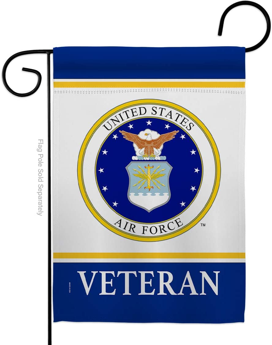 """USA Decoration Air Veteran Garden Flag Armed Forces USAF United State American Military Retire Official House Decoration Banner Small Yard Gift Double-Sided, 13""""x 18.5"""", Thick Fabric"""
