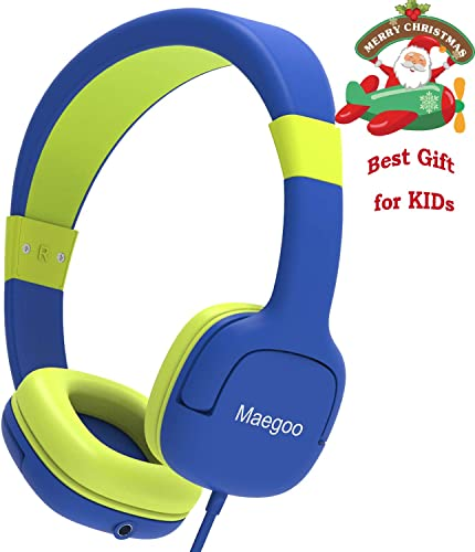 Maegoo Kids Headphones, Children Girls Boys Teens Adjustable Over-Ear On-Ear Headset with Mic Volume Limited Earphones for School Travel Home Compatible Telephone PC Laptop Tablet Blue