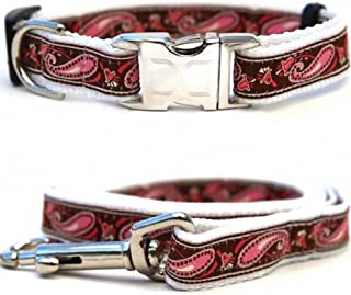 "product image for Diva-Dog 'Boho Pink' Custom Medium & Large Dog 1"" Wide Dog Collar with Plain or Engraved Buckle, Matching Leash Available - M/L, XL"