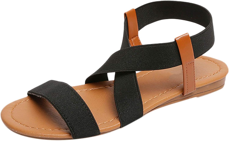 2019 Summer Beach Roman Sandal Ladies Open Toe Flat Sandal #30,Black,41,United States
