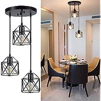 Depuley Vintage Pendant Light, 3-Light Adjustable Hanging Pendant Lights Fixture with Cage Shade, Industrial Design…