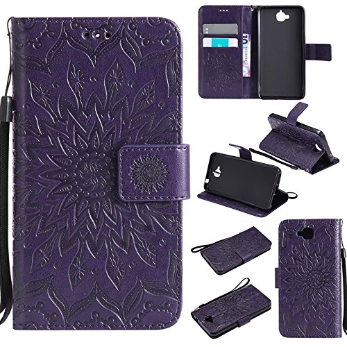 YAJIE-Carcasa Funda Para Huawei Y6 Pro / Honor Play 5X / Enjoy 5, Sun Flower Printing Design PU Funda de cuero con tirón de la cartera Funda protectora con ranura para tarjeta de soporte ( Color : Pin Purple