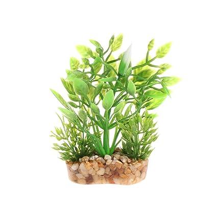 Daxibb Planta Acuática Planta Artificial Plástico Estable Base Peces Tanque Acuario Decoración Anterior