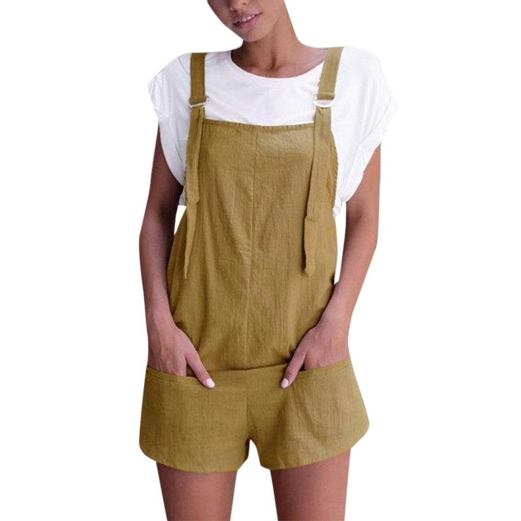 FNKDOR Summer Women Weekend Hiking Cycling Suit Elastic Waist Dungarees Linen Cotton Pockets Rompers Playsuit Shorts Pants Jumper(Khaki,L)