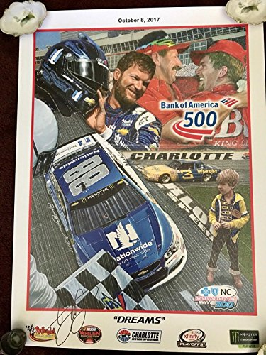(Dale Earnhardt Jr. Signed Picture - BANK OF AMERICA 500 SAM BASS 18x24 Poster - Autographed NASCAR Photos)