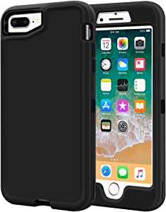 iPhone 8 Plus Case, iPhone 7 Plus Case, LOEV Heavy Duty Shockproof Full Body Defender Case Armor 3 Layer Hybrid Protective Anti-Scratch Hard Shell Rugged Cover for iPhone 7 Plus/8 Plus, Black
