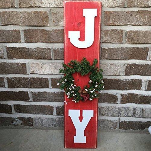 Amazoncom Rustic Christmas Joy Sign With Wreath Handmade