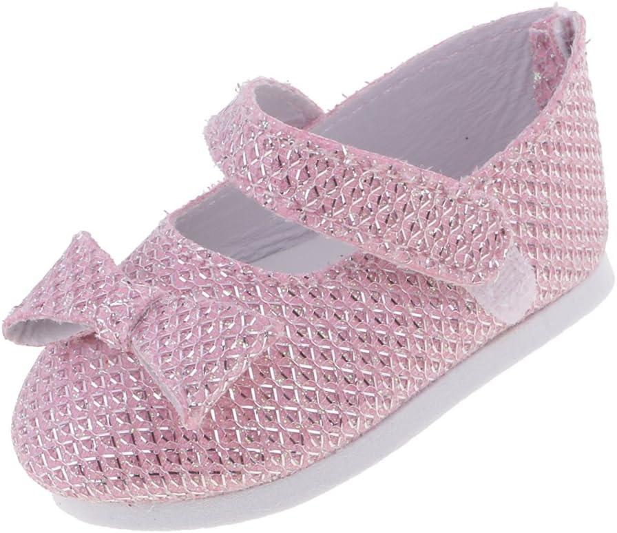 MagiDeal Zapatos de Cuero con Bowknot Pegajosa Correa Planos para 18inch Muñeca Americana Chica - Lentejuelas Rosa