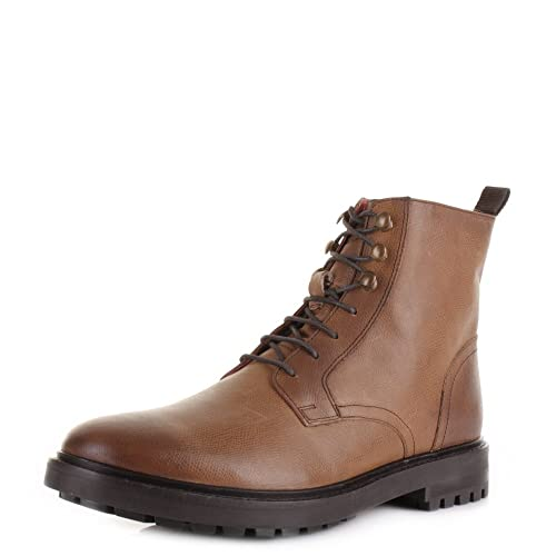 Base London Mens Tan Leather Lace Up Boots 9