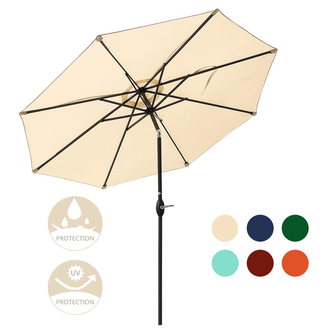 JEAREY Patio Umbrella 9' Outdoor Table Aluminum Market Umbrella with Push Button Tilt and Crank,8 Ribs with Fiberglass Rib Tips(Beige)