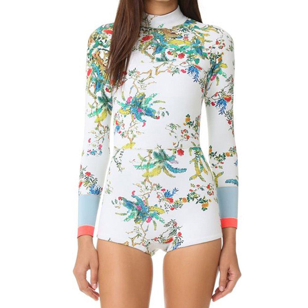 ANRABESS Women Rashguard Long Sleeve Zip UV Protection Surfing Swimsuit 2164-L