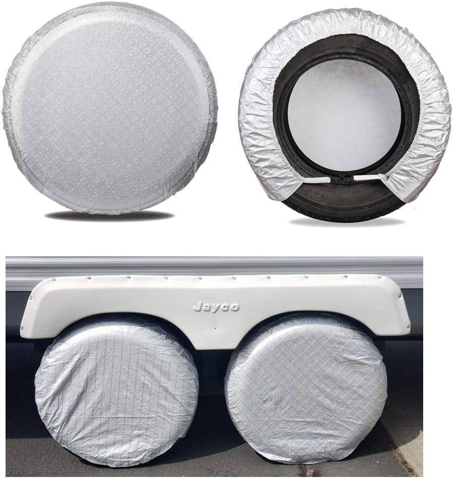 "Moonet Tire Covers for RV Wheel (4 Pack Silver), Oxford Waterproof UV Sun Protectors for Motorhome Boat Trailer Camper Van SUV,D81cm x H28cm for Diameter 30""-32"""