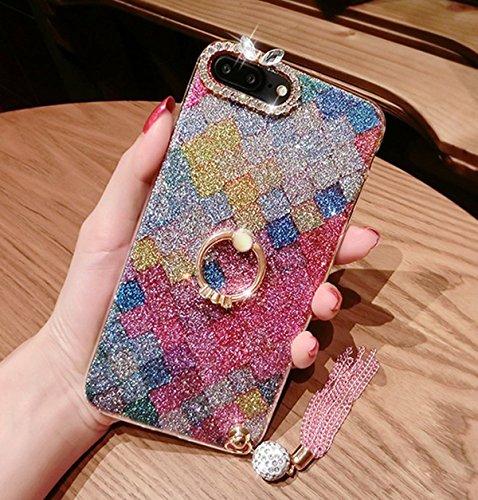 PHEZEN iPhone 8 Plus Case,iPhone 7 Plus Glitter Case, Bling Diamond Rhinestone with Ring Kickstand Sparkle Soft Silicone TPU Bumper Protective Cover for iPhone 7 Plus/8 Plus, Diamond