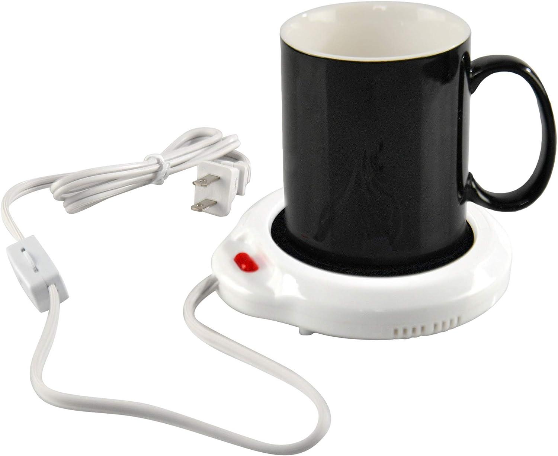 HOME-X Black & White Mug with Mug Warmer Set, Coffee Accessory for Home or Office, Small Electric Coffee Mug Plate Warmer, Heated Mug Coaster, 3 1/2