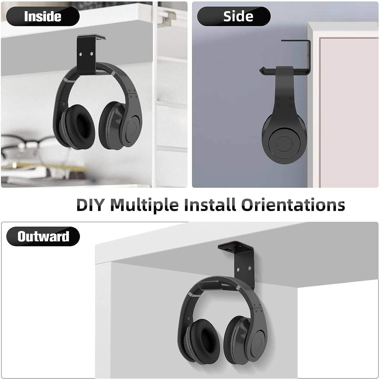 brevettato nero in alluminio Style 2 6amLifestyle Black doppio supporto per auricolari ganci adesivi universali per tutte le cuffie supporto per cuffie