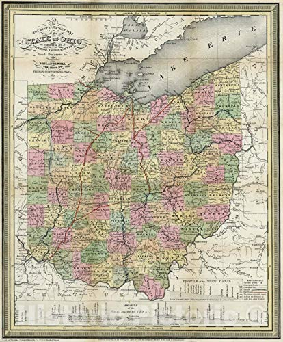 Historic Map   Pocket Map, Ohio 1851   Vintage Wall Art   20in x 24in
