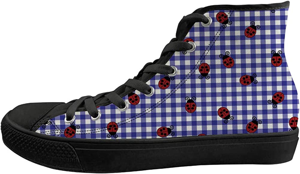 Unisex Casual High-Top Skate Shoes Classic Sneakers Adults Trainers Ohio Symbol Ladybugs On Plaid