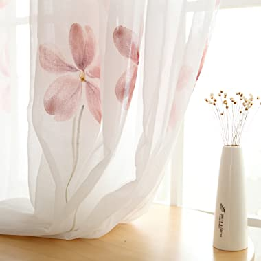 Melodieux Floral Sheer Window Treatment Rod Pocket Voile Curtains (1 Panel 52 by 84 Inch White)