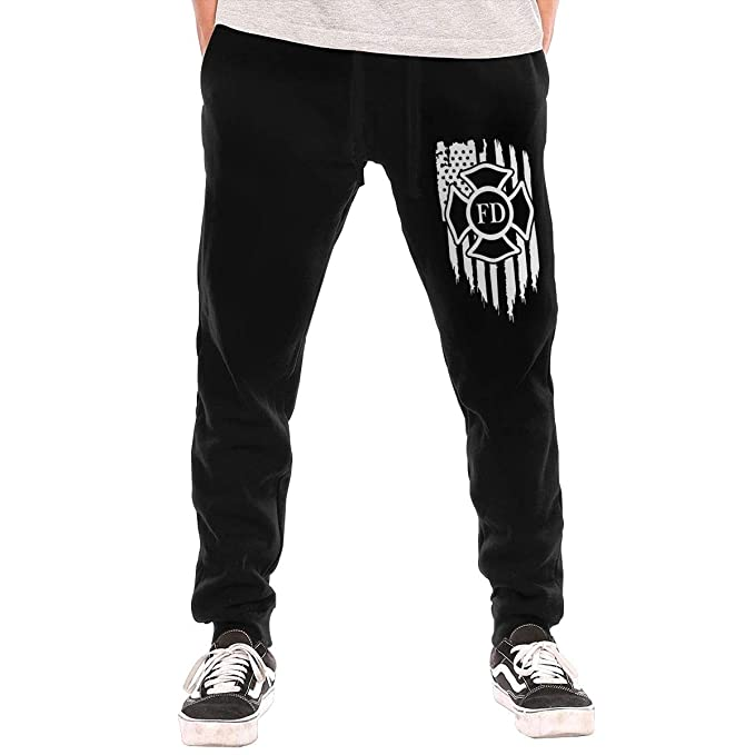 7147a66c322 American Flag Firefighter Maltese Cross Fire Mens Casual Trousers Fit Jogger  Running Training with Pockets Black