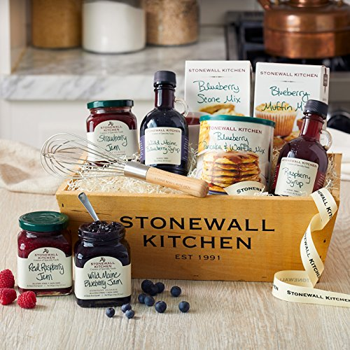 Stonewall Kitchen Berry Breakfast Gift Basket (9 Piece Wood Gift Box Set) made in Maine
