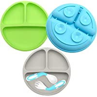 Suction Plates for Babies-3Pcs set, 100% SiliconeToddler plates,Divided Baby Plates, Dishwasher & Microwave Friendly…